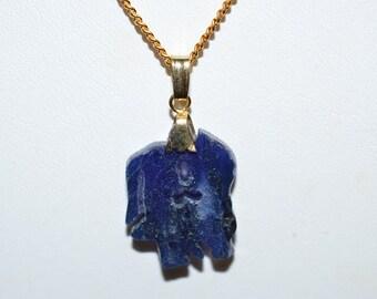 Vintage, Genuine Lapis Kissing Cousin Pendant Necklace (1050036)