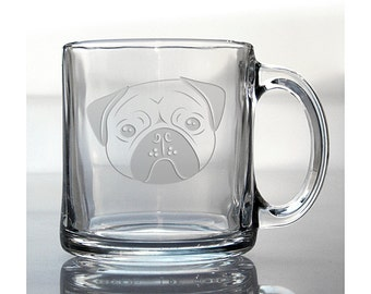 Pug Coffee Mug / Free Personalization / Perfect for Dog Lovers / Personalized 13 oz Glass Coffee Mug / Personalized Gift / Hot Chocolate Mug