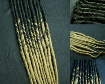 10 jet black/sandy blonde transitional single end dreads