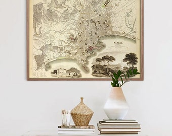 """Map of Naples 1835, Vintage Naples Map, Blue or Sepia, 3 sizes up to 30x24"""" (75x60 cm) map of Napoli Italy - Limited Edition of 100"""