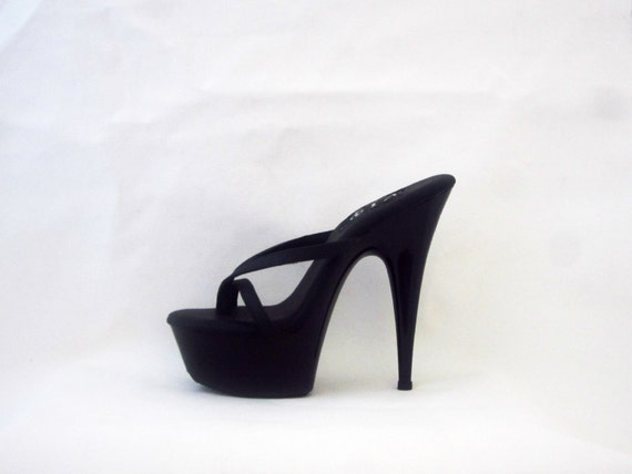 22f5c315cf3 VIP 6 inch Handmade Black Leather Thin Thong Mule High Heel best ...