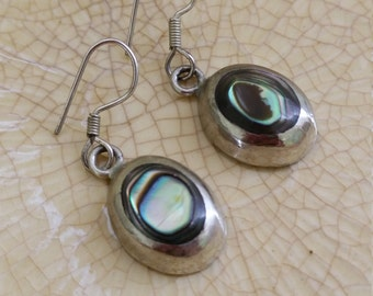 Vintage Silver and Abalone Dangle Earrings.