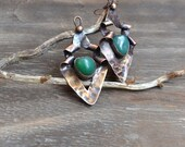 Textural copper earrings with green agate