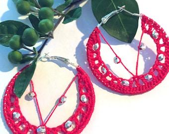 Red Crochet Hoop Earrings