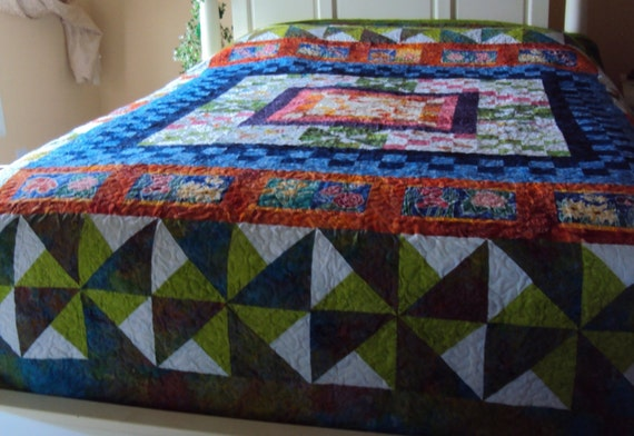 Wedding Gift Quilt : Handmade Pinwheel Queen Size Quilt- Wedding Gift- Green, Blue, Orange ...