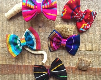 Sarape Mexican bows. Kids bow. Blue bow. Purple bow. Pink bow. Black bow. Hair clips. Boho style bows.