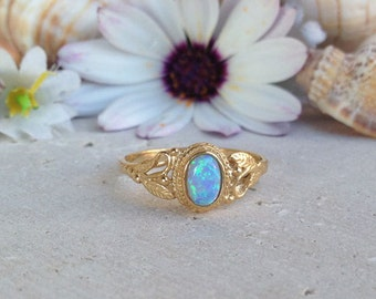 20% off- SALE!!! Blue Opal Ring - October Birthstone - Gold Ring - Gemstone Ring - Tiny Ring - Delicate Ring - Lace Ring - Opal Jewelry