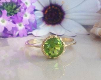 20% OFF Sale!! Peridot Ring - August Birthstone - Gemstone Ring - Faceted Ring - Stacking Ring - Bezel Ring - Gold Ring - Round Ring