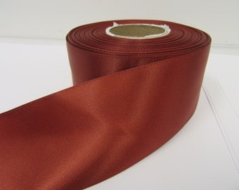 3mm 7mm 10mm 15mm 25mm 38mm 50mm Rolls, Rust dark Brown Satin ribbon, 2, 10 or 25 metres, Double sided,