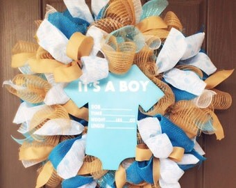 Its A Boy Wreath, Baby Wreath, Newborn Wreath, Delivery Wreath, Door Hanging Wreath