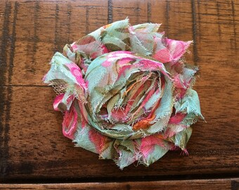 ON SALE Aqua Flower with Pink Floral Print, Little Girl Headbands, Summer Headband