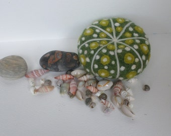 Green and White Sea Urchin shell felt sculpture