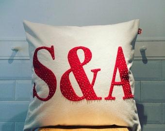 Initial Monogram hand beaded cushion cover