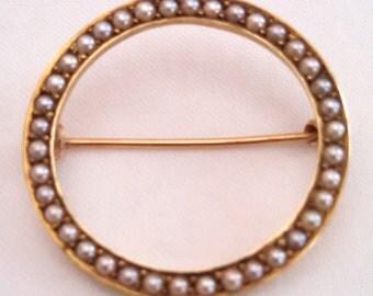 14k gold circular seed pearl brooch