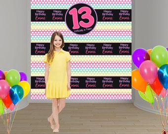 13th Birthday Personalized Photo Backdrop - Rainbow Chevron Photo Backdrop Birthday- 16th Birthday Photo Backdrop, Step and Repeat Backdrop