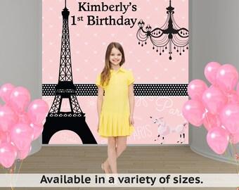 Paris Personalized Photo Backdrop - Sweet 16th Party Backdrop Pink Poodle- Bat Mitzvah Photo Backdrop, Eiffel Tower Photo Backdrop