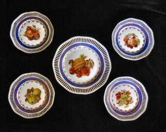 Winterling Set of 5 Cabinet Plates Porcelain with Reticulated Rim & Fruit Motif - Bavaria