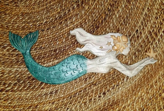 Items Similar To On Sale Mermaid Wood Resin Wall Decor