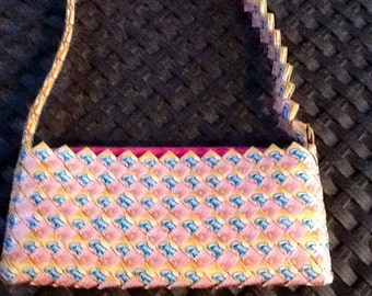Gum Wrapper Handbag/Purse/Clutch. Evening Bag is 11 by 5 Inches with Shoulder Strap. Pinks, Yellows and Blues.