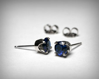 Sapphire Earrings Studs, 14K Created Sapphire Stud Earrings, 14K Yellow or White Gold, 14K Sapphire Jewelry, September Birthstone, Earrings