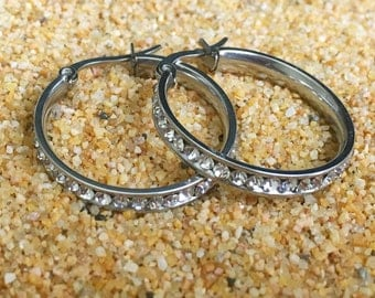 Free shipping within USA * Stainless Steel CZ Hoop Earrings