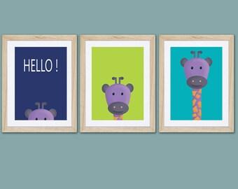 3 posters of giraffe , boy wall art décor, kids room, nursery