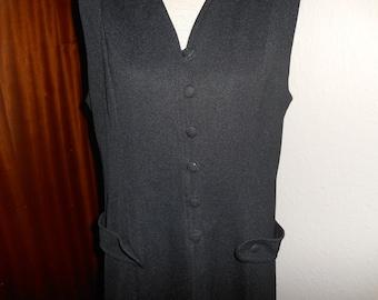 Vintage Retro 1960s 1970s Black Crimplene (Crimped Polyester) Pinafore Tunic Waistcoat UK Size 16 18