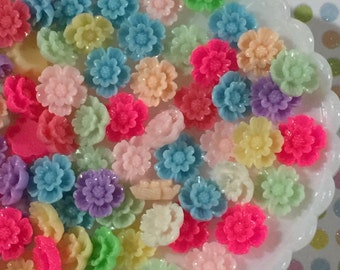 20 pc. Small flower cabochon mix - 12mm flower flat back cabochons