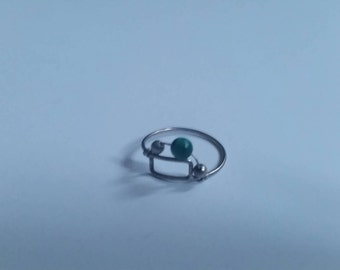 Sterling Silver Ring Wire Green Glass Bead