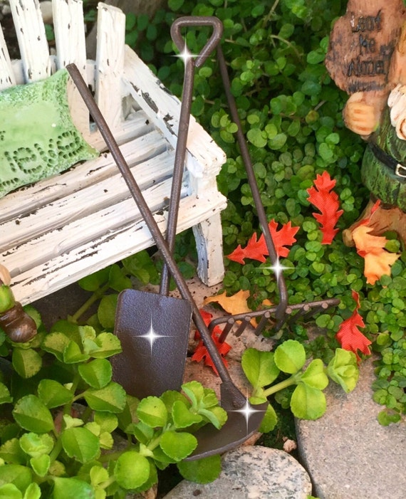 Fairy garden tools miniature garden tools miniature rake for Gardening tools list 94