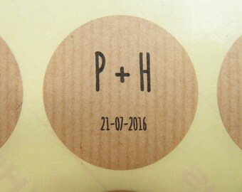 Ribbed rustic recycled kraft paper custom personalised stickers weddings gifts packaging 4cm diy weddings envelope confetti bag seals