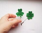 Clover lapel pin set, St. Patrick's Day Clover, Shamrock irish brooch broach, lucky clover felt jewelry, nature brooches