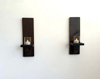 Rustic Wood Wall Sconces, Candle Sconces, Wall Candle Holders (Set of 2) Dark Stain