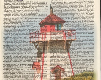 Covehead Harbour Lighthouse, Prince Edward Island, National Park, Canada, Vintage Upcycled Book Page Dictionary Art Print Mixed Media