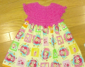 Baby Girls Strawberry Shortcake Dress with Crocheted bodice and bloomers
