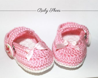 Hand-knitted baby shoes ballet shoes, Baby Shoes, hand-made crochet Dancers, Pink Shoes