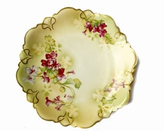 Old China MZ Austria circa 1900 Victorian plates - scalloped plate with decoration of bunch of violets NET gold hand painted