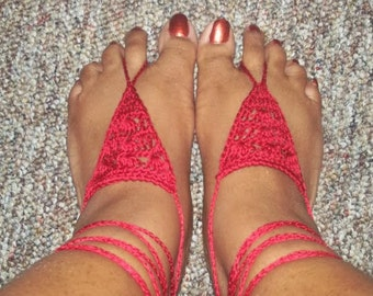 Barefoot Sandals Crochet Pattern  (Shells in a Triangle)