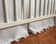 Box pleat crib skirt from snow white linen Crib bedding Nursery bedding Cot bedding