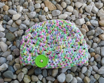 Toddler Hat--Pink/Green Multi with Green Button