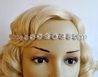 Crystal Bridal Rhinestone Tie on Headband headpiece, Prom  Wedding flapper 1920s great gatsby ribbon headband, Bridal rhinestone head piece