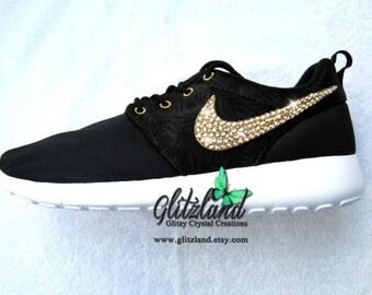 gfotp NEW Swarovski Nike Girls / Women Black / Volt Roshe by Glitzland