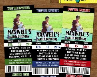 Printable Boys Football invitation ticket - Boys Football birthday party invites - Football birthday invitation - Football birthday invites!
