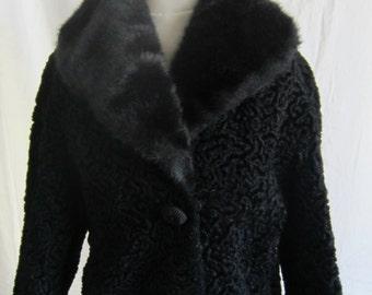 Black Persian lamb vintage winter coat