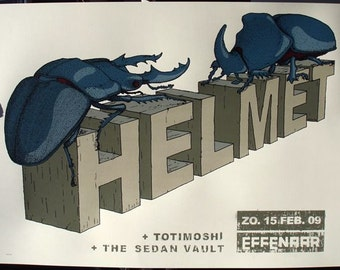 Helmet Gig Poster - Limited to 100pcs, 6 color silkscreen print, signed and numbered.