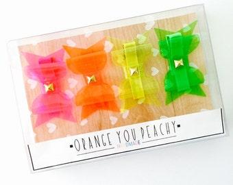 Studded Hair Bows - Studded hair clips, Jelly bow hair clips, Studded headbands, Summer hair clips, Girls hair clip set
