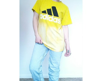 90's Neon Yellow Tie Dye Adidas T Shirt - Vintage Dip Dyed Oversized Tee - Grunge Neon Tie Dye T Shirt - Large XL T Shirt - Sport T Shirt