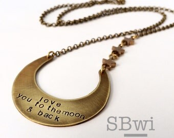 Love you to the moon and back necklace in bronze with star details