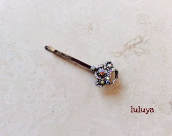 High Quality Iridescent AB Crystal Rhinestone Crown Hair Clip Bobby Pin