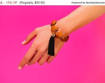 Wood Bead Bracelet, Wood Bracelet, Bead Bracelet, Chunky Bead Bracelet, Chunky Bracelet, Black Tasssel Bracelet, Statement Bracelet